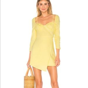 Revolve Majorelle yellow asymmetric mini dress